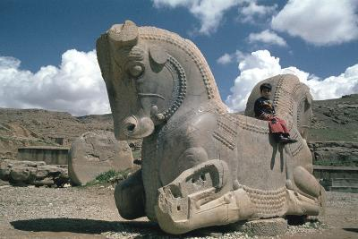 Protome of a Double Horse, the Apadana, Persepolis, Iran-Vivienne Sharp-Photographic Print