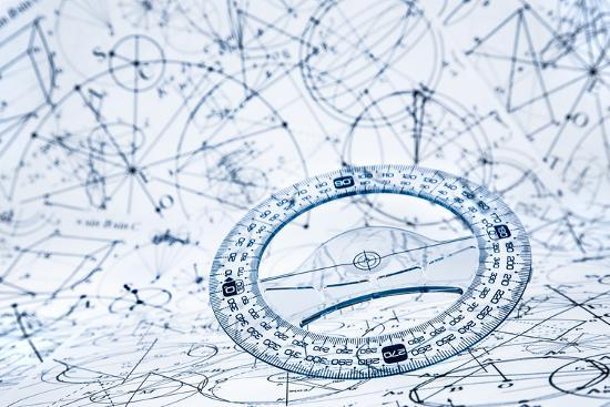 Protractor on the Background of Mathematical Formulas and Algorithms-Andrey Armyagov-Photographic Print