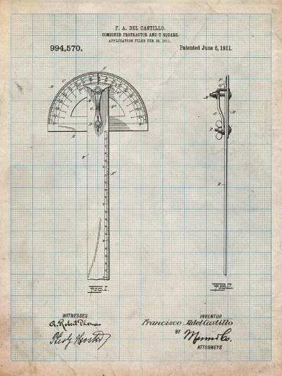 Protractor T-Square Patent-Cole Borders-Art Print