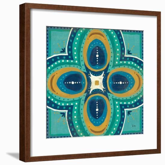 Proud as a Peacock Tile IV-Veronique Charron-Framed Art Print