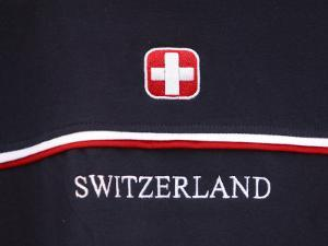 Proud Flag of Switzerland with Symbol and Text