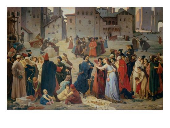 Provenzano Salvani Begging in Piazza del Campo-Amos Cassioli-Giclee Print