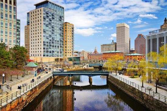 Providence, Rhode Island Cityscape at Waterplace Park.-SeanPavonePhoto-Photographic Print
