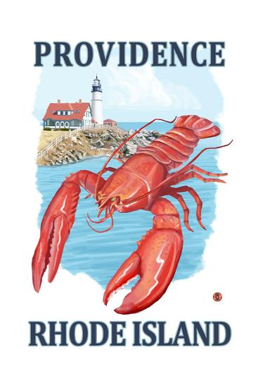 Providence, Rhode Island - Lobster and Lighthouse-Lantern Press-Art Print