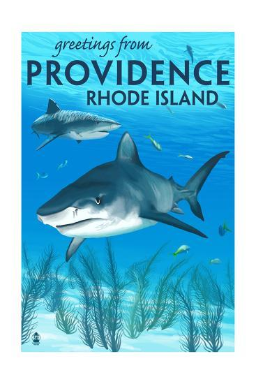 Providence, Rhode Island - Tiger Shark-Lantern Press-Art Print