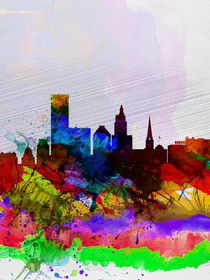 Providence Watercolor Skyline-NaxArt-Art Print
