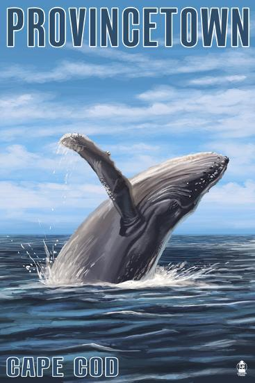 Provincetown, Massachusetts - Humback Whale-Lantern Press-Art Print