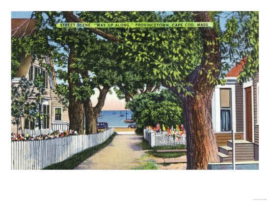 Provincetown, Massachusetts - Street Scene of Residences-Lantern Press-Art Print