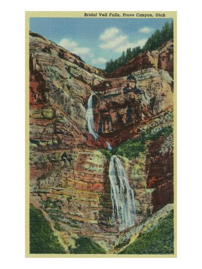 Provo Canyon, Utah, View of Bridal Veil Falls-Lantern Press-Art Print