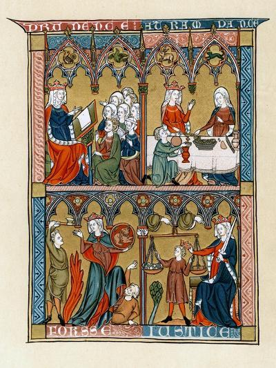 Prudence, Temperance, Fortitude and Justice, 1290-1300--Giclee Print