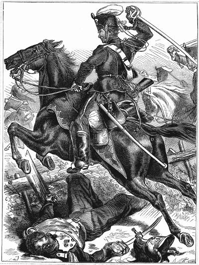 Prussian Hussar Charging with Sword Drawn, Franco-Prussian War 1870-1871--Giclee Print