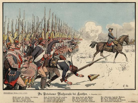 Prussian Infantry at the Battle of Leuthen-Carl Rochling-Giclee Print