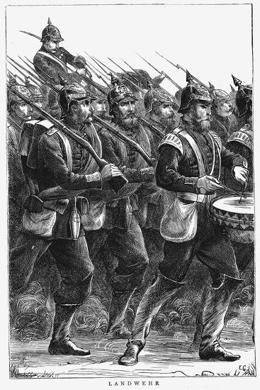 Prussian Soldiers on the March, Franco-Prussian War, September 1870--Giclee Print