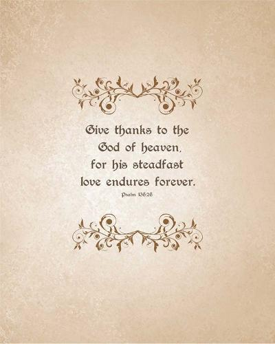 Psalm 136:26, Give Thanks (Beige)-Inspire Me-Art Print