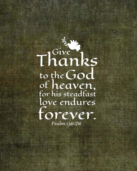 Psalm 136:26, Give Thanks (Olive Border)-Inspire Me-Art Print