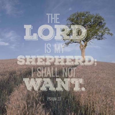 Psalm 23 The Lord is My Shepherd - B&W Field-Inspire Me-Art Print