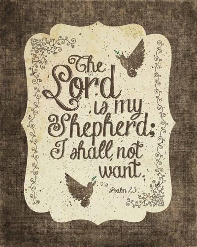 Psalm 23 The Lord is My Shepherd - Bird Border-Inspire Me-Art Print