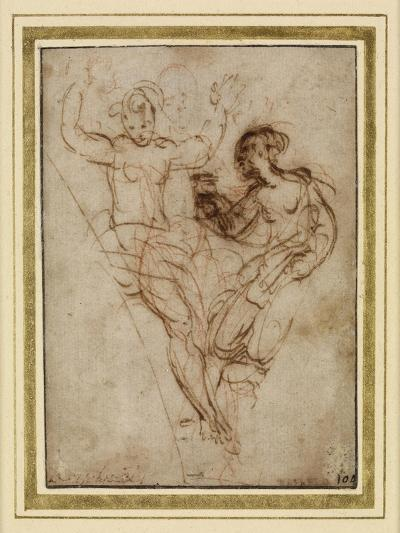 Psyche Presenting to Venus the Vase of Proserpine (Pen and Brown Ink over Red Chalk on Brownish Pap-Raphael-Giclee Print