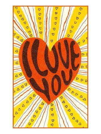 Psychedelic Love You Heart--Art Print