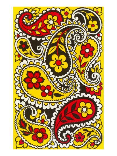 Psychedelic Paisleys, Yellow and Red--Art Print