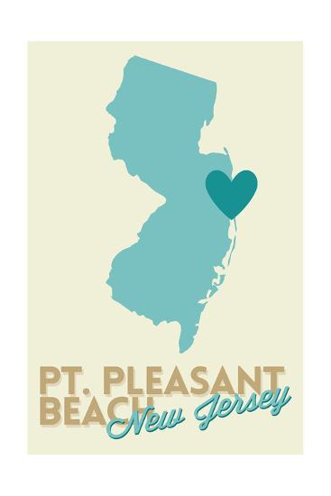 Pt. Pleasant Beach, New Jersey - Heart Design (Blue and Teal)-Lantern Press-Art Print