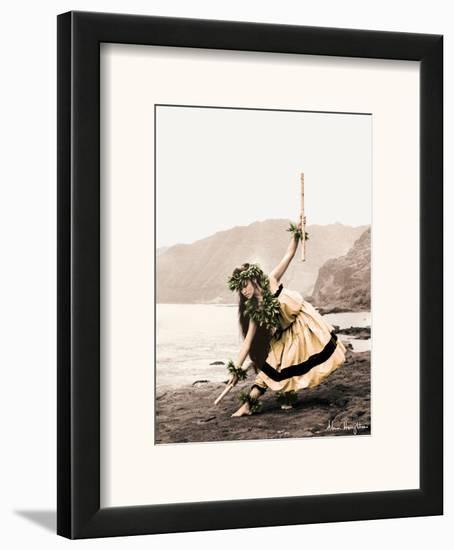 Pua with Sticks, Hawaiian Hula Dancer-Alan Houghton-Framed Art Print