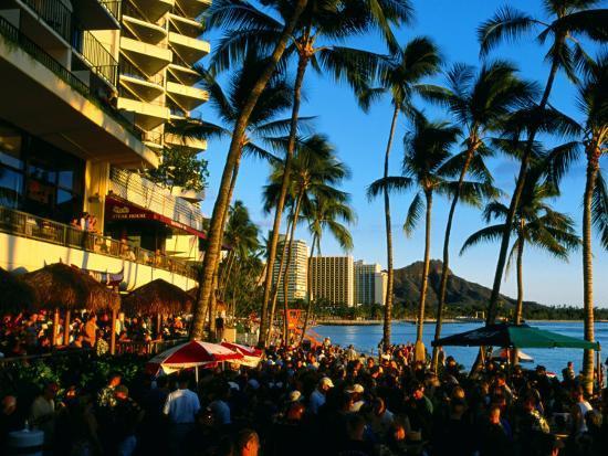 Pub at Waikiki Beach, Oahu, Hawaii-Holger Leue-Photographic Print
