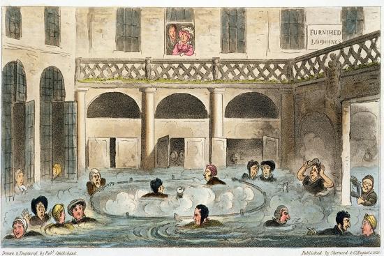 'Public Bathing at Bath, or Stewing Alive', 1825-Isaac Robert Cruikshank-Giclee Print