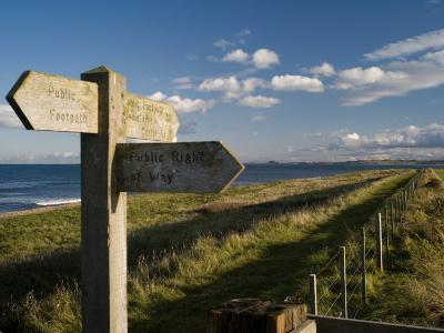 Public Footpath Sign on Lindisfarne, Northumberland, England, United Kingdom, Europe-Rob Cousins-Photographic Print