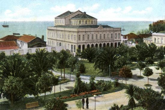Public Garden and Theatre, Madeira, 1905--Giclee Print