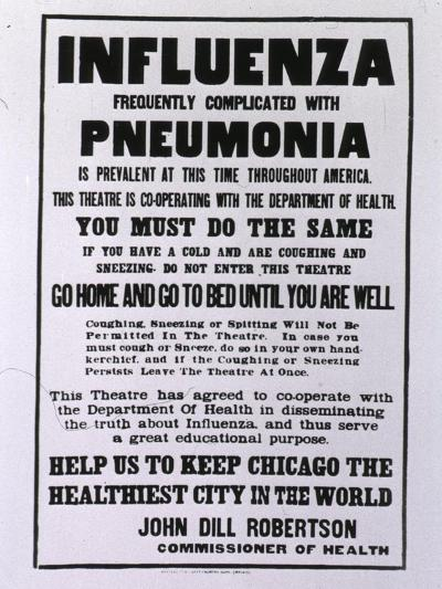 Public Health Poster Relating to the Spanish Flu Epidemic in Chicago During the Fall of 1918--Art Print