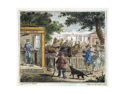 Public Weighbridge Used to Weigh Cattle in a Market, 1867--Giclee Print