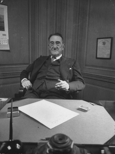 Publisher of Post-Dispatch Newspaper Joseph Pulitzer Jr., Sitting in His Office-Ed Clark-Photographic Print