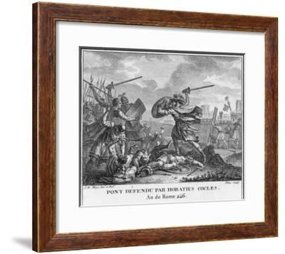 Publius Horatius Cocles and Two Companions Defend Tiber Bridge-Augustyn Mirys-Framed Giclee Print