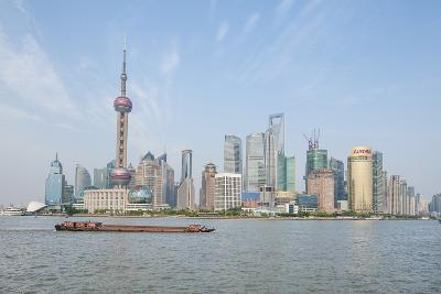 Pudong District Skyline with Shipping on the Huangpu River, Shanghai, China-Michael DeFreitas-Photographic Print