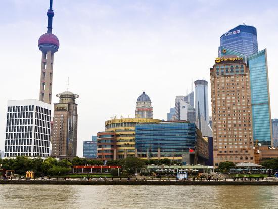 Pudong Skyline across the Huangpu River, Oriental Pearl Tower on Left, Shanghai, China, Asia-Amanda Hall-Photographic Print