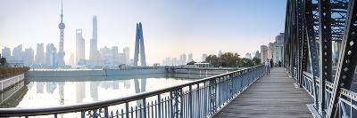 Pudong Skyline across the Suzhou Creek and Waibaidu Bridge, Shanghai, China-Jon Arnold-Photographic Print