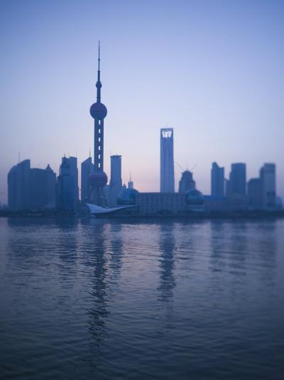 Pudong Skyline and Oriental Pearl Tower, Pudong District, Shanghai, China-Walter Bibikow-Photographic Print