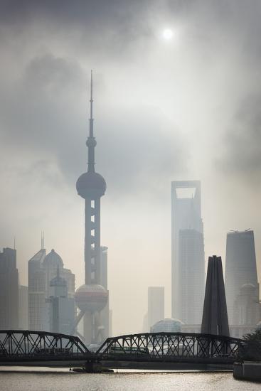 Pudong Skyline and Smog.-Jon Hicks-Photographic Print