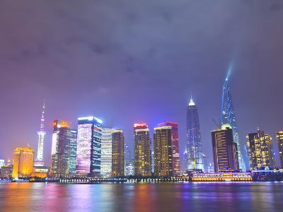 Pudong Skyline at Night across the Huangpu River, Shanghai, China, Asia-Amanda Hall-Photographic Print