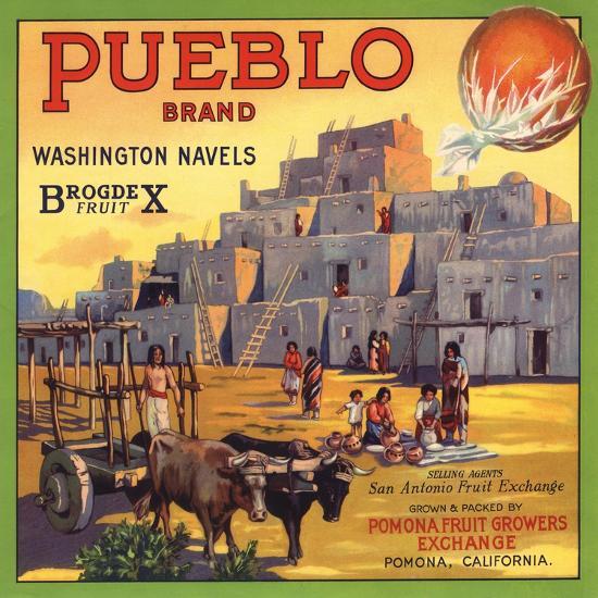 Pueblo Brand - Upland, California - Citrus Crate Label-Lantern Press-Art Print