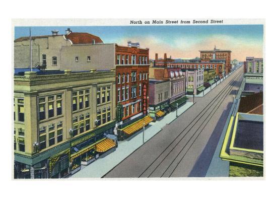 Pueblo, Colorado, Northern View down Main Street from Second Street-Lantern Press-Art Print