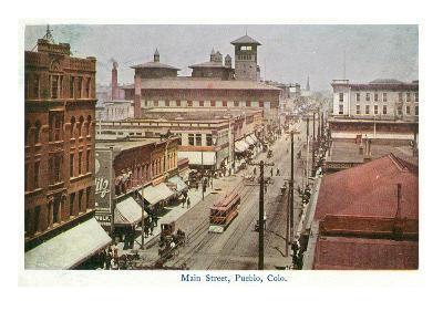 Pueblo, Colorado - Panoramic View of Main Street-Lantern Press-Art Print