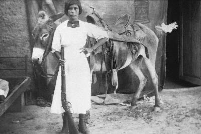 Pueblo Girl and Burro, 1900-American Photographer-Photographic Print