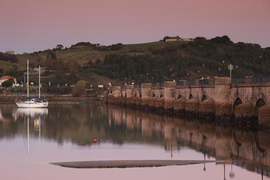 Puente de la Maza bridge at dusk, San Vicente de la Barquera, Cantabria Province, Spain--Photographic Print
