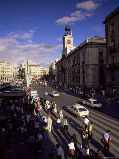 Puerta Del Sol, from the West, Madrid, Spain-Upperhall-Photographic Print