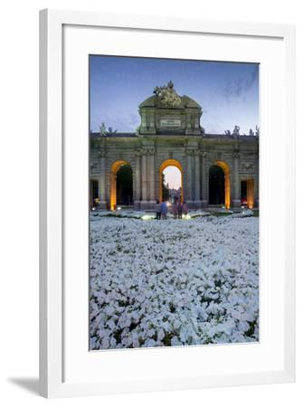 Puerto De Alcala at Dusk and White Flowerbed, Madrid, Spain, Europe-Charles Bowman-Framed Photographic Print