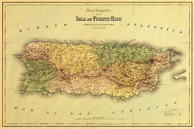 Puerto Rico - Panoramic Map-Lantern Press-Art Print