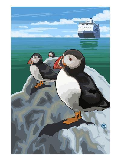 Puffin and Cruise Ship - Pacific-Lantern Press-Art Print