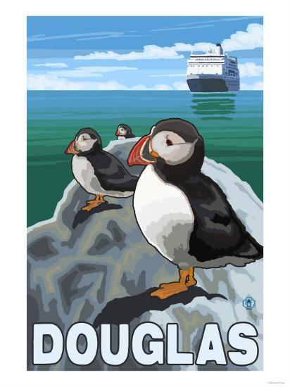 Puffins & Cruise Ship, Douglas, Alaska-Lantern Press-Art Print